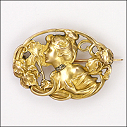 French Art Nouveau 18K Gold Filled 'FIX' with Diamonds Lady Pin - unsigned Dropsy