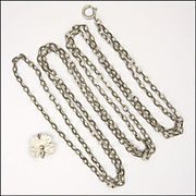 "French Circa 1900 Silver Guard Chain with Silver Clover Clip  -  53½"" - 27.6 grams"