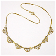 French Art Deco Gold Filled Necklace -ORIA