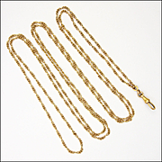 "French Antique 18K Gold Filled Decorative Guard Chain - 55"" - 13.8 grams"