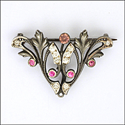 French Art Nouveau Silver and Pastes Pin