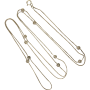 "French Antique Decorative Sautoir or Long Necklace - 52"" - 8.6 grams"
