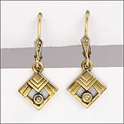 French Art Deco Gold Filled Drop Earrings - FIX