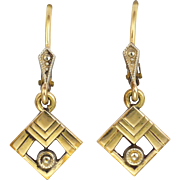 French Art Deco Gold Filled Drop Earrings - FIX
