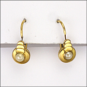 French Art Deco Gold Filled Pearl Drop Earrings - FIX