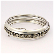 French Deco Silver Roses Bangle Bracelet