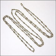 "French Antique Silver Guard Chain - 55""-  29.4 grams"