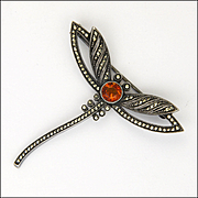THEODOR FAHRNER 935 Silver Marcasites Citrine Dragonfly Pin