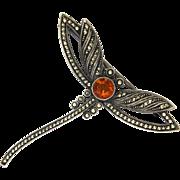 THEODOR FAHRNER 935 Silver Marcasites Citrine Dragonfly Pin