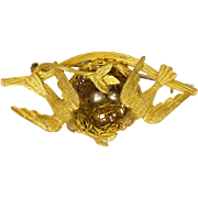 French 18k Gold Plated Swallows On Nest Pin