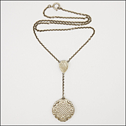 European Circa 1910-1920 Sterling Silver Locket Necklace
