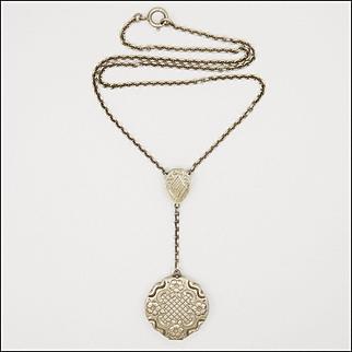 European Circa 1910-1920 Sterling Silver Locket Necklace