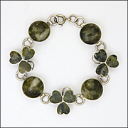 Irish Connemara Marble and Sterling Silver Shamrock Bracelet