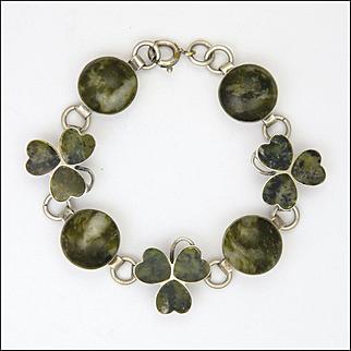 Irish Connemara Marble and Sterling Silver Shamrock Bracelet