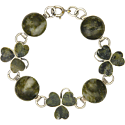 Itish Connemara Marble and Sterling Silver Shamrock Bracelet