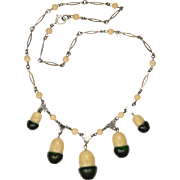 Art Deco Silver Coloured Metal and Glass Acorn Drop Necklace
