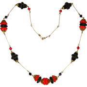 Art Deco Egyptian Revival Natural Coral and French Jet Necklace