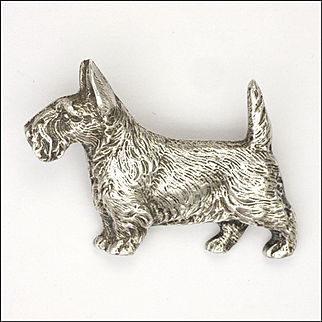 English Art Deco Sterling Silver Scotte Dog
