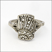English Art Deco Silver and Marcasite Sunburst Ring