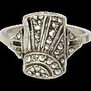 English Art Deco Silver and Marcasite Sunburst Ring