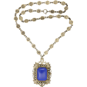 Sterling Silver and Lapis Lazuli Flower Chain Pendant Necklace