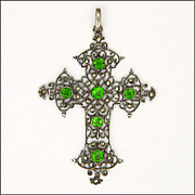 French Arts and Crafts Large Silver and Pastes Cross Pendant