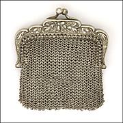 French Art Nouveau Silver Mesh Purse