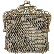 French Art Nouveau Silver Mesh Purse