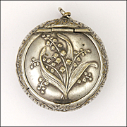 French Art Nouveau Lily of The Valley Silver Plated Pill Box Pendant