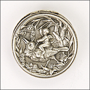 French Antique Silver Cherub and Bird Pill Box
