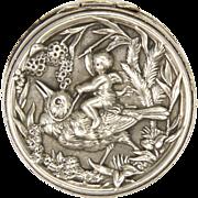 French Antique Silver Cherub and Bird Pill Box