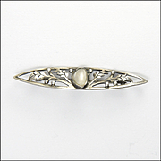 Arts and Crafts Sterling Silver Leaves Baroque Pearl Pin