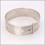 English 1945 Adjustable Sterling Silver Engraved Bangle - CHARLES HORNER