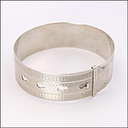 English 1945 Adjustable Sterling Silver Engraved Bangle - CHARLES HORNER