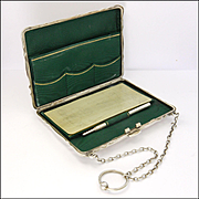 English 1913 Sterling Silver Aide Mémoire Card Case Purse