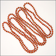 Art Deco Coral with Cystal Glass Spacers Long Necklace - 60""