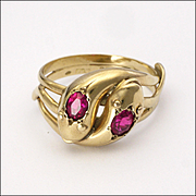 English 1936 9K Gold and Gemstones Snake Ring
