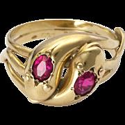 English 1936 9K Gold and Gemstones Snake Ring