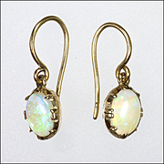 Edwardian 9K Gold and Opal Earrings - Hooks for Pierced Ears