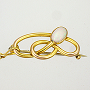 Art Nouveau English  1905 9K Gold Opal Pin - CHARLES HORNER