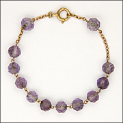 French 18K Gold and Faceted Amethyst Beads Bracelet