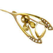 Edwardian 10K Gold and Seed Pearl Flower Wishbone Pin