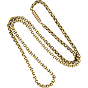 "Victorian 9K Gold Belcher Chain Necklace -16½"" - 3.6 grams"