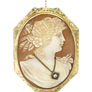 Victorian 14K Gold Cameo Lady with Diamond Necklace pin/Pendant
