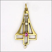 Jugendstil Art Nouveau 14K Gold Ruby and Pearl Pendant