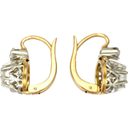 French Antique 18K Gold and White Sapphires Lever Back Earrings - Pierced Ears.