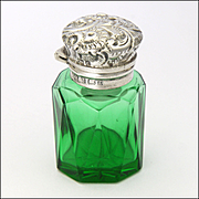 Antique English 1902 Silver Topped Smelling Salts or Scent Glass Bottle