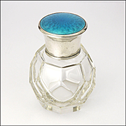 English 1922 Silver Enamel Scent Perfume Bottle