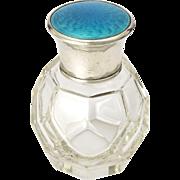English 1922 Silver Enamel Scent Perfume Bottle