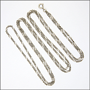"French Antique Silver Decorative Guard Chain -56"" -19.3 grams"